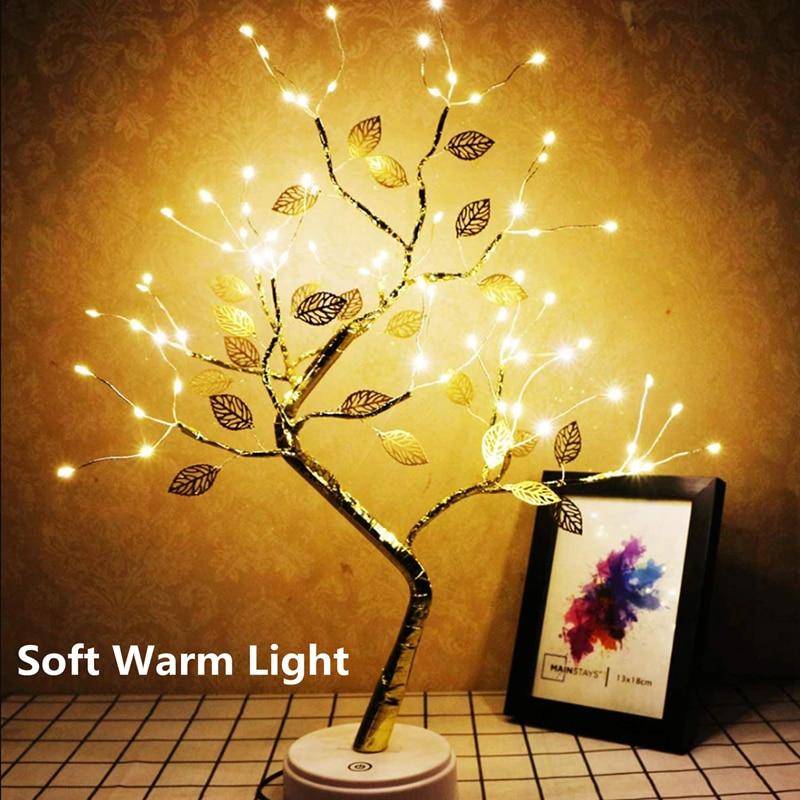 LED الجنية ليلة ضوء الجدول مصباح الأسلاك النحاسية شجرة عيد الميلاد الصغيرة جارلاند مصباح USB بطارية تعمل Luminary عطلة غرفة ديكور