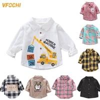 vfochi 2021 boys shirt 18 color kids tops cotton plaid boy long sleeve shirt children clothing baby boy top casual boys shirts