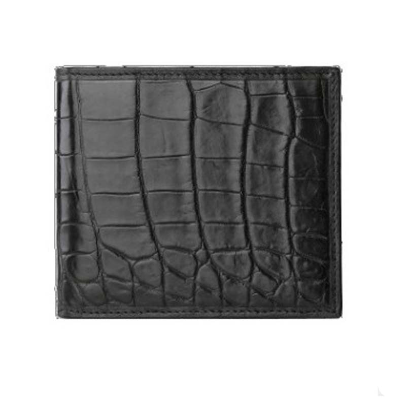 LINSHE crocodile  men  The wallet  Men's brief paragraph  Genuine leather   real thing  2019   new  black  youth  Thin men belt