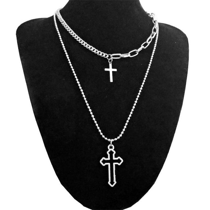 Харадзюку личность многослойный полый крест ангел монета кулон длинное ожерелье для женщин Девушка Egirl уличные украшения