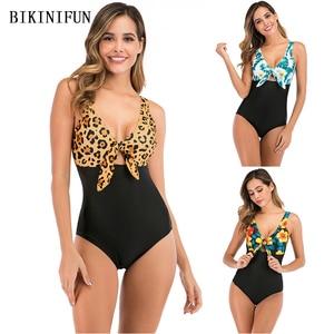 2020 New Leopard Swimsuit Women Front Cutout Monokini Floral Patchwork Swimwear S-2XL Girl Backless Bathing Suit One Piece Suit