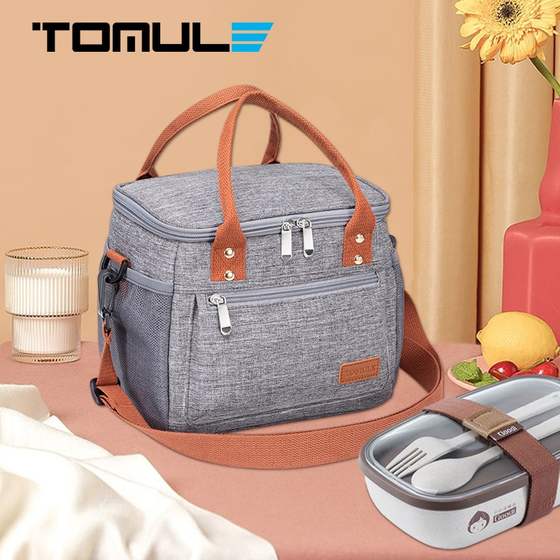 TOMULE Portable Lunch Bag Thermal Insulated Cooler Bag Picnic Food Storage Bags 9L Shoulder Lunch Bo
