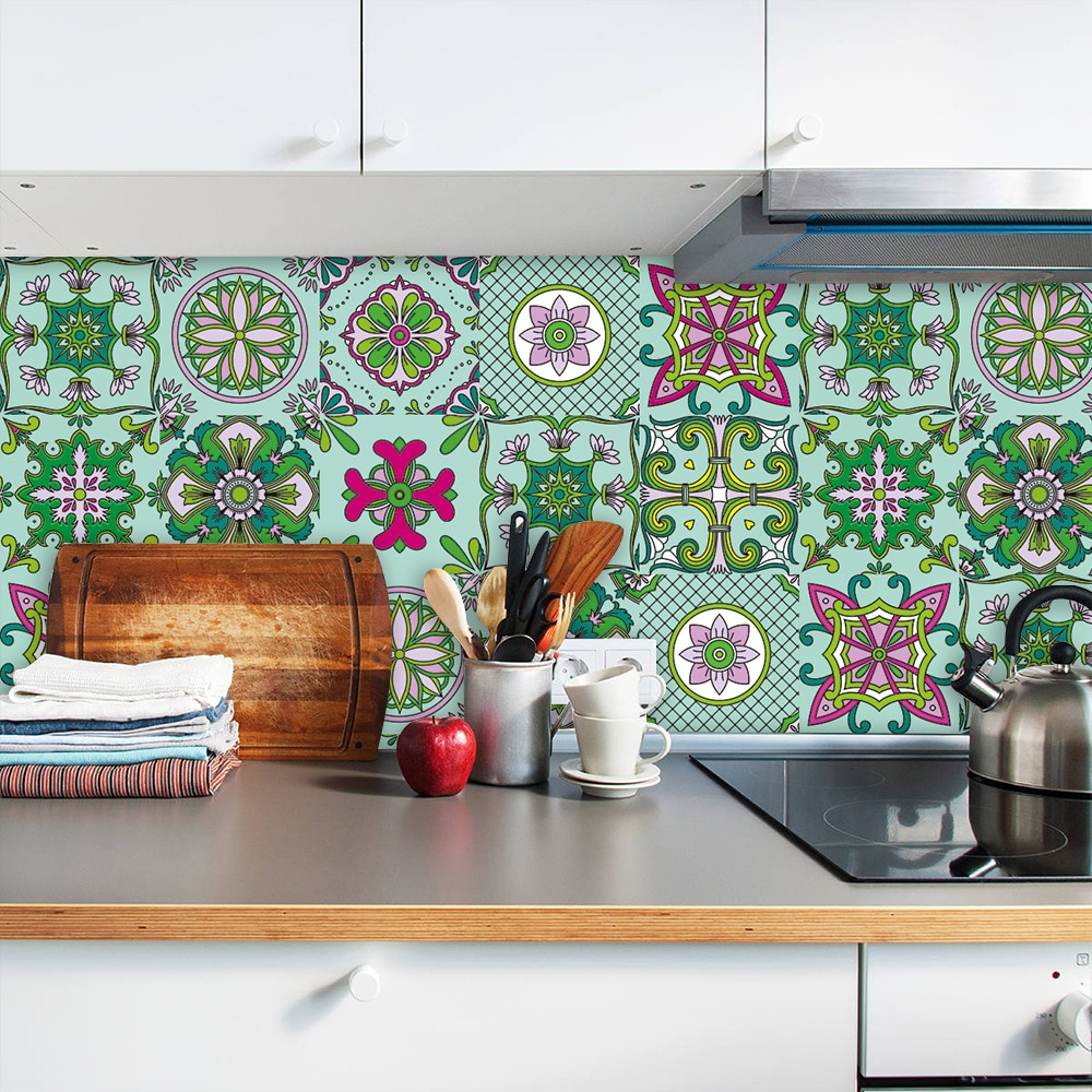 10 unids/set de decoración Floral verde cerámica dura pegatina de pared cocina hogar renovación calcomanías de pared brillo superficie PVC azulejos arte Mural