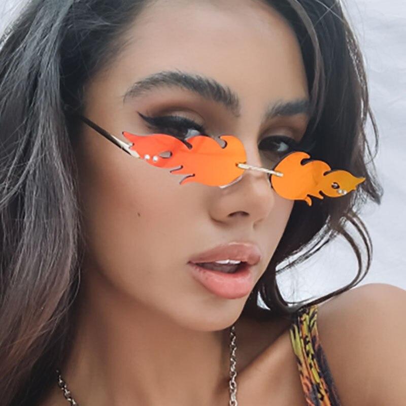 fashion rimless oversize women sunglasses panther sunglasses for women oculos feminino in summer luxury eyewear for fashion lady Flame Shape Oversize Women Sunglasses Men Rimless Eyeglasses Female Sun Glasses Vintage Lunette Shades oculos feminino Eyewear