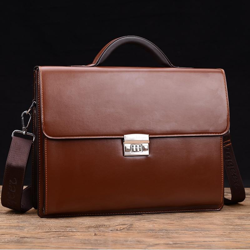 Novo homem de negócios de luxo saco theftproof bloqueio couro do plutônio maleta para o homem sólido banco ol masculino ombro saco de trabalho portátil sacos