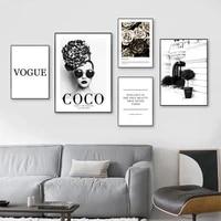Affiche de fleur de femme a la mode et citations de Coco imprimees  toile dart murale  peinture en noir et blanc  images en Vogue pour decor de maison