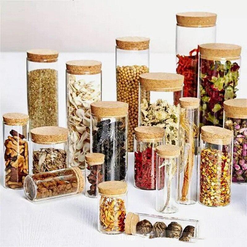 Frasco de vidrio para botellas con tapas latas de lata caja de almacenamiento de especias recipiente para galletas recipiente para cereales contenedores herméticos para alimentos