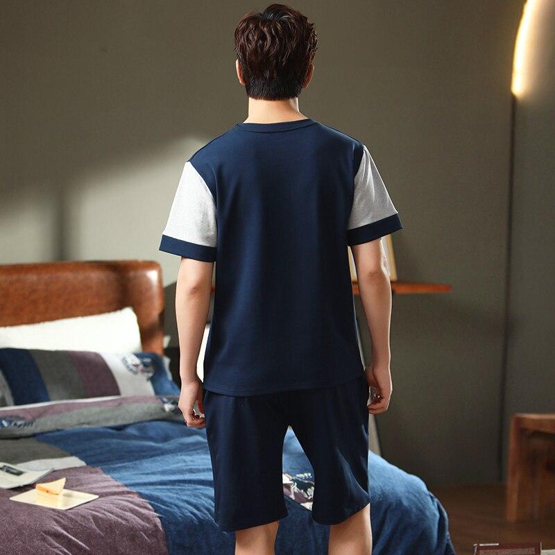 Иданна мужчины пижамы комплект хлопок ночное белье короткие +рукава одежда для сна лето сон одежда верхняя одежда ночные рубашки ночная рубашка костюм O Nec