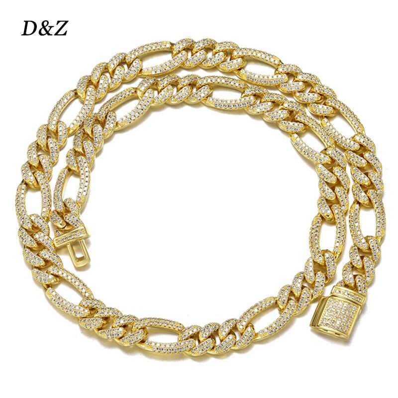 D & Z-سلسلة فيجارو 10 مللي متر ، وصلات كوبية ميامي ، سحر زركونيا AAAA ، سلسلة هيب هوب للرجال والنساء ، مجوهرات