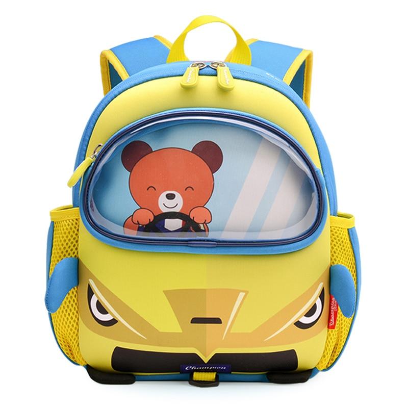 2019 nuevo oso pequeño que conduce bolsos escolares de coche amarillo para niños diseño de moda niños pequeños libro mochilas niñas niños mochila escolar