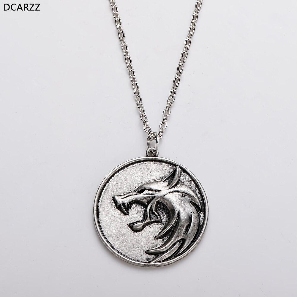 Игра волшебник 3 Дикая Охота волчья голова ожерелье гералт Косплей металлическая цепь мужской медальон кулон Дикая Охота 3 фигурка ТВ ювелирные изделия