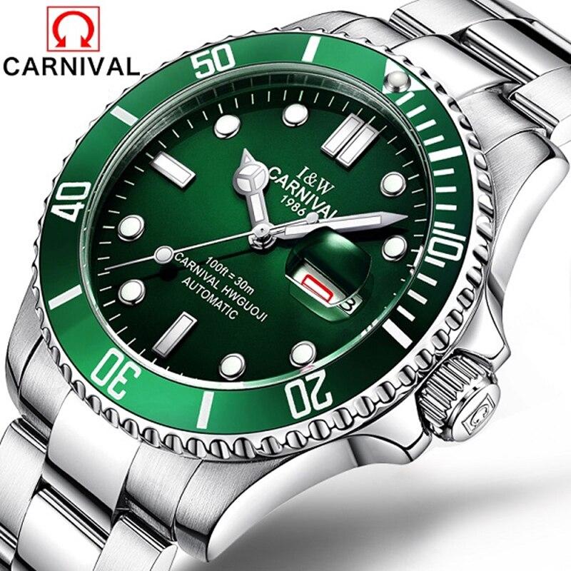 CARNIVAL Brand Fashion Watch Man Luxury Waterproof Luminous Calendar Military Automatic Mechanical Wristwatch Relogio Masculino