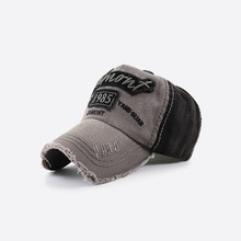 2021 Washed Water Baseball Cap Letter Embroidered Sunshade Anti-Sai Distressed Hole Patches European