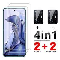 Закаленное защитное стекло 4-в-1 для Xiaomi 11 10 T Pro, Защитное стекло для экрана камеры Xiami 11 10 T, пленка