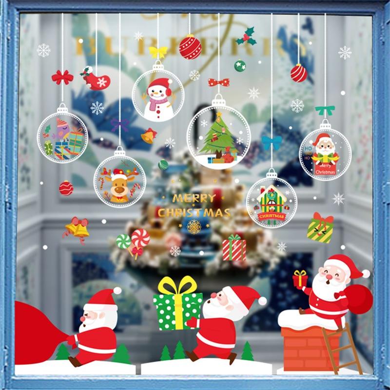 Christmas Snowflake Electrostatic Wall Sticker Santa Elk Window Stickers Beautify snowflake Wall Decals New Year Party elk snowflake geometric print christmas hoodie