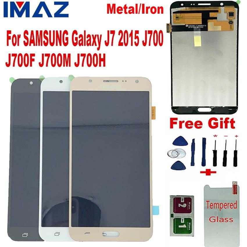 IMAZ Metal Iron sheet LCD For Samsung Galaxy J7 2015 J700 J700F J700H/M LCD Display Touch Screen Digitizer Assembly For J7 LCD