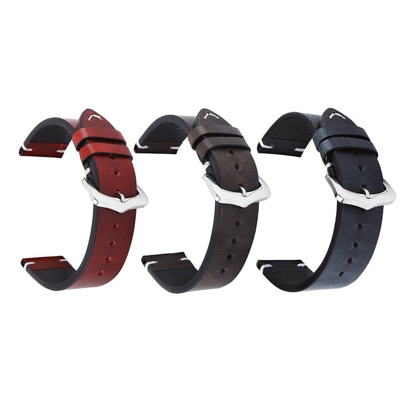Correa de cuero transpirable para reloj, 18mm, 20mm, 22mm, hebilla de Pin...