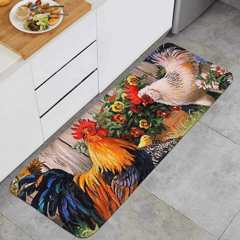 Sunflower and Rooster Kitchen Mat Non-Slip Carpet Indoor Outdoor Floor Mats Bedroom Bath Floor Mats Entrance Rugs Doormat Decor