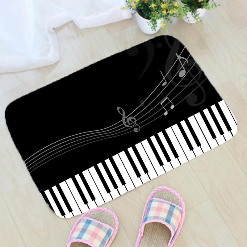 Music Notes Printing Rug Flannel Musical Note Pattern Rug Carpet Floor Mat Bathroom Non-slip Mat Home Decor Doormat ZT374