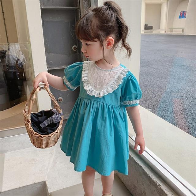 2021 Summer Children Casual Dress Kid Clothes Pasted Cloth Korean Baby Short Sleeve Princess Skirt Kids Dresses for Girls 4