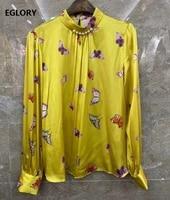 100silk blouse shirt 2021 spring summer style women stand neck butterfly print beading deco long sleeve blue yellow tops shirt