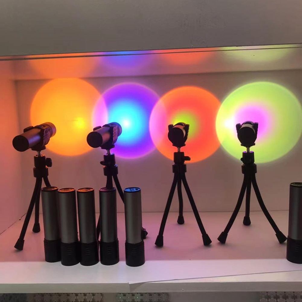 Rainbow Wall Projection Floor Lamp Colorful Atmosphere Light Sun Projection Desk Lamp for Bedroom Bar Wall Decoration Lighting