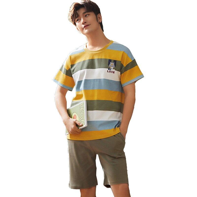 Thoshine бренд лето пижама комплекты для мужчин с короткими рукавами в полоску мультфильм одежда для сна из двух предметов комплект комплект мужской хлопок гостиная повседневная одежда одежда