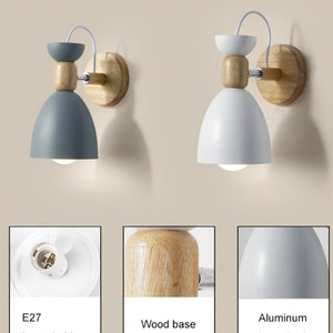 Led Wall Light Wooden Bedside Wall Lamp Nordic Wall Sconces Modern Night Light For Bedroom Living Room Study Reading E27 85-265V