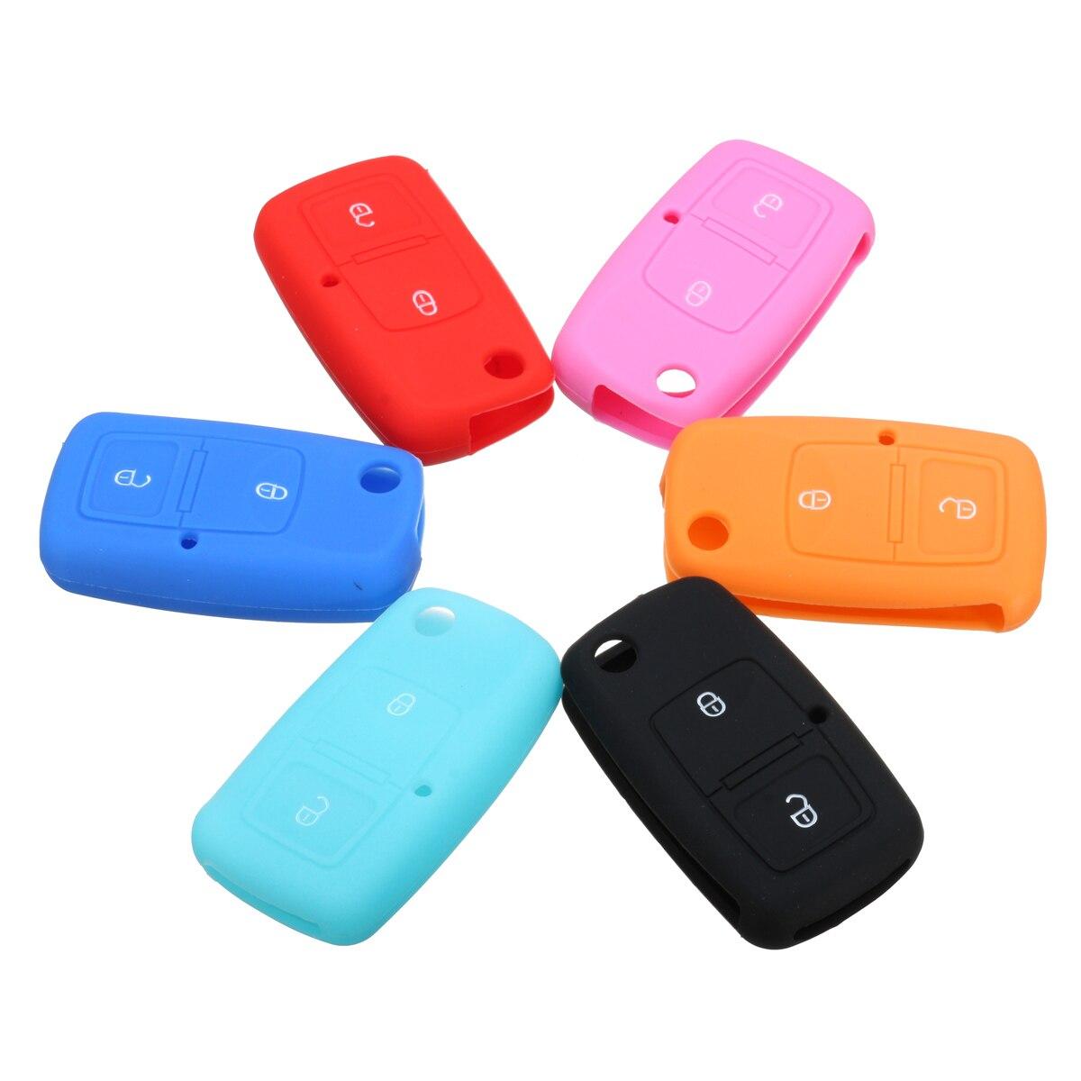 Nueva funda de llave de control remoto abatible de 2 botones de silicona funda protectora para llavero para VW Bora Touran Cady