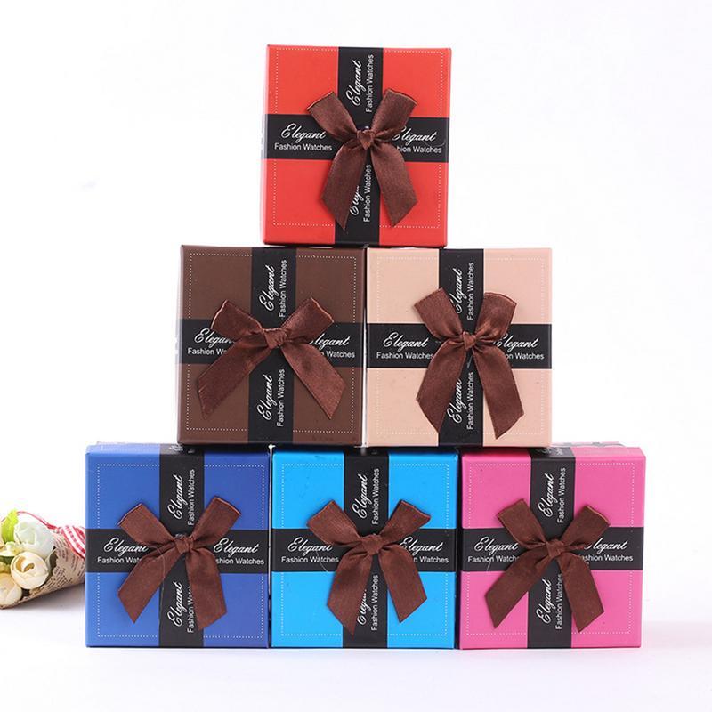 1 caja de regalo de gran oferta, innovadores pendientes de lazo anudado, caja de joyería, anillo, caja de reloj, accesorios de regalo, venta al por mayor, 6 colores