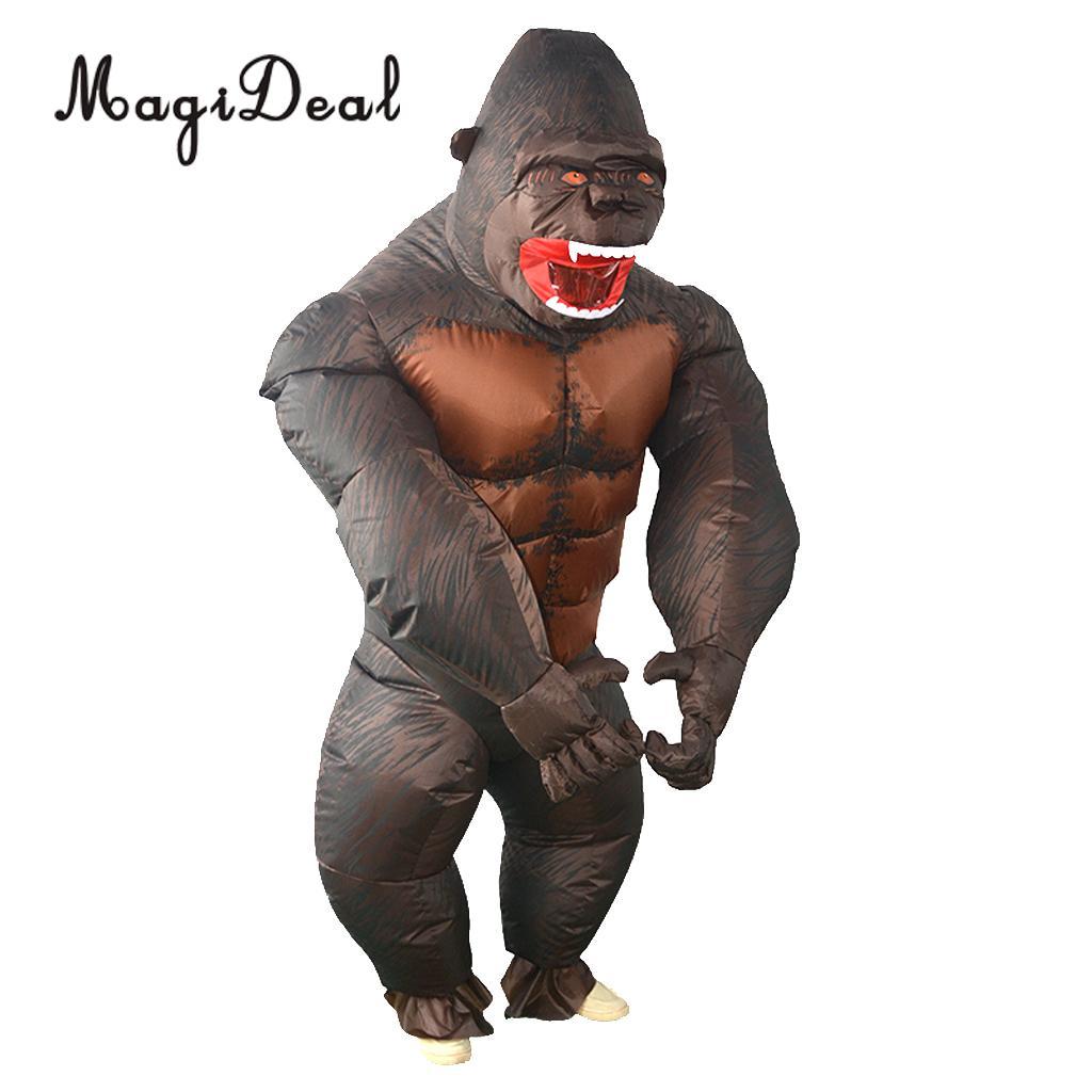 Magideal engraçado inflável gorila traje masquerade cosplay festa fantasia vestido terno para festa de halloween cosplay