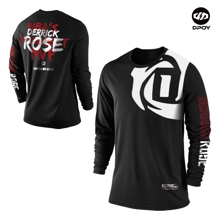 Camiseta de deporte del baloncesto de manga larga con diseño original de la marca Dpoy D Rose chico para hombre y mujer de secado rápido