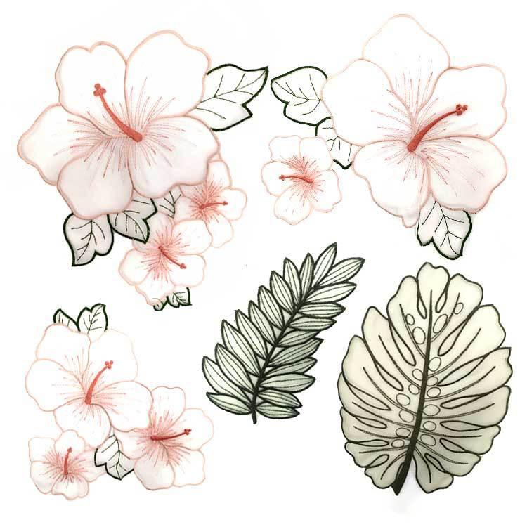 5Pcs Organza Flower Venise Lace Applique Trim Lace Embroidery Patches DIY Lace Collar Neckline Decorate Sewing Craft Supplies