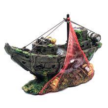Harz Aquarium Ornament Künstliche Wrack Versenkt Schiff Segelboot Destroyer Aquarium Dekoration Aquarium