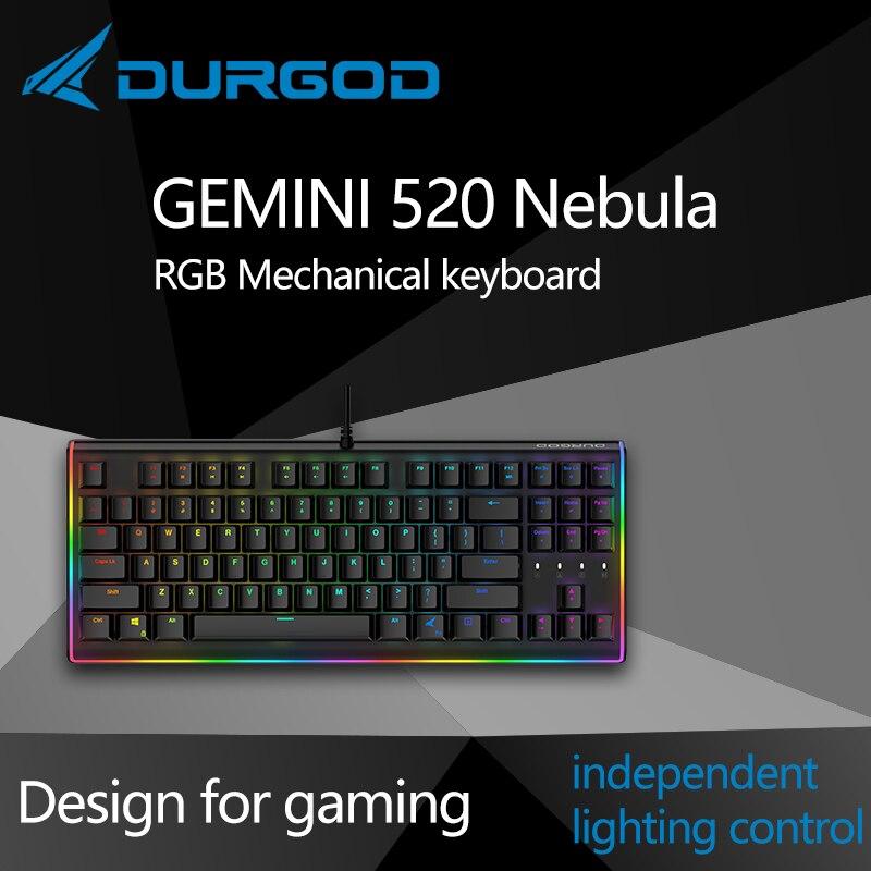 لوحة مفاتيح إضاءة ميكانيكية durgod 87 gemini 520 Nebula rgb لوحة مفاتيح cherry mx pbt doubleshot بني أزرق أسود صامت أحمر فضي