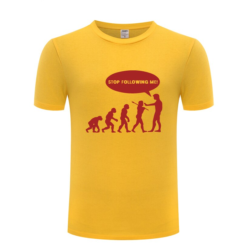 Evolution Stop Following Me Funny Novelty T Shirt Tshirt Men 2018 New Short Sleeve O Neck Cotton Cas