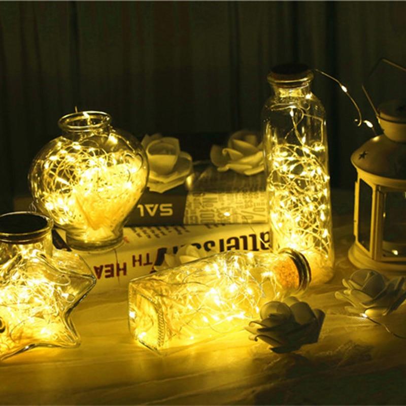 10 LED Solar Powered Wine Bottle Cork Shaped Light Copper Garland Festoon Wire String Lights Christmas Holiday Decoration