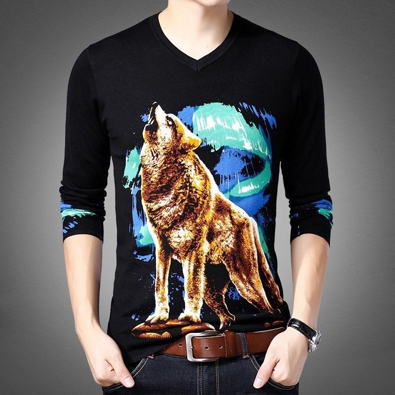 Moda suéter para Hombre Erkek Kazak tirar Homme Hiver Slim Fit Para Homme Animal impreso suéter para Hombre Chompas Hombre 2019