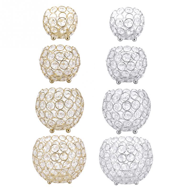 Candeleros de cristal dorado o plateado, candeleros modernos para bodas, Decoración de mesa, centros de mesa para velas de 8/10/12/15cm