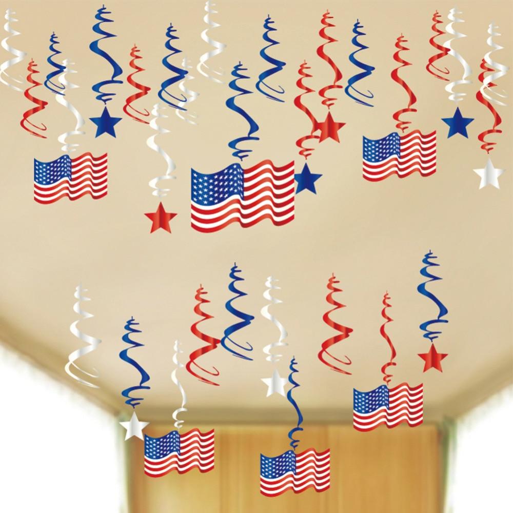 4 de Julio rojo blanco azul Día de la independencia espirales colgantes decoración estrella rayas guirnalda látex globos papel roseta Memorial día
