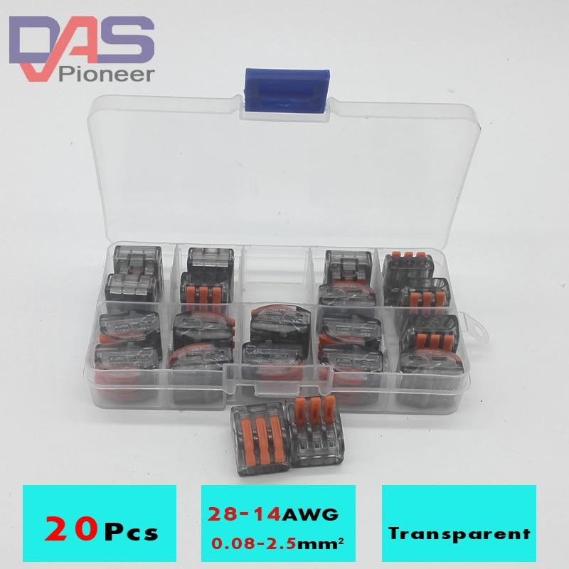 Универсальный компактный провод с 3 отверстиями, прозрачный коннектор, 20 шт., 3-контактный клеммный блок с рычагом AWG 28-12, новый дизайн
