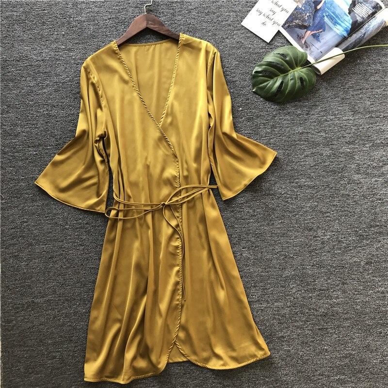 2019 verano Sexy vestido de novia mujer satén novia bata seda Kimono media manga Albornoz verano dama de honor ropa de dormir