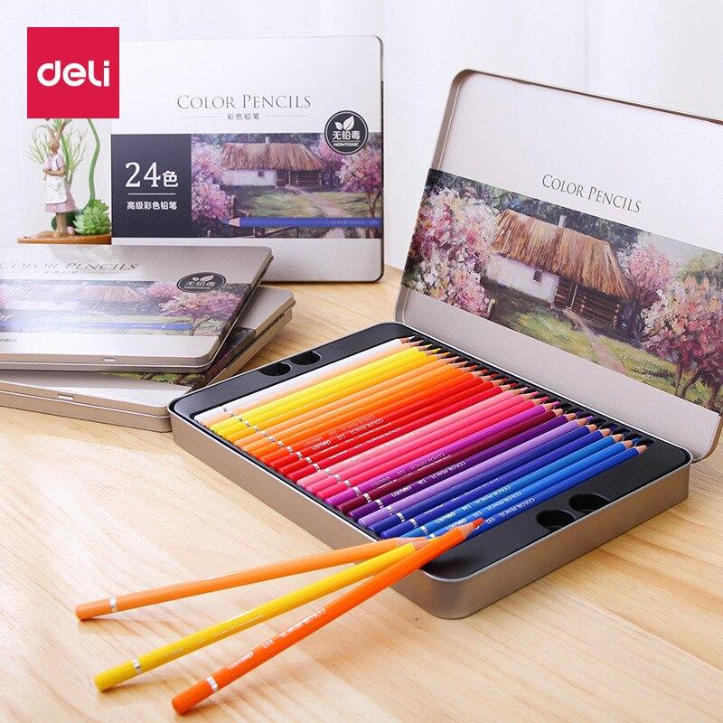 Deli 24/36/48/72 colores lápices profesionales de color de aceite lápiz de dibujo de color juego suministros arte para diseño de Manga de dibujo de artista