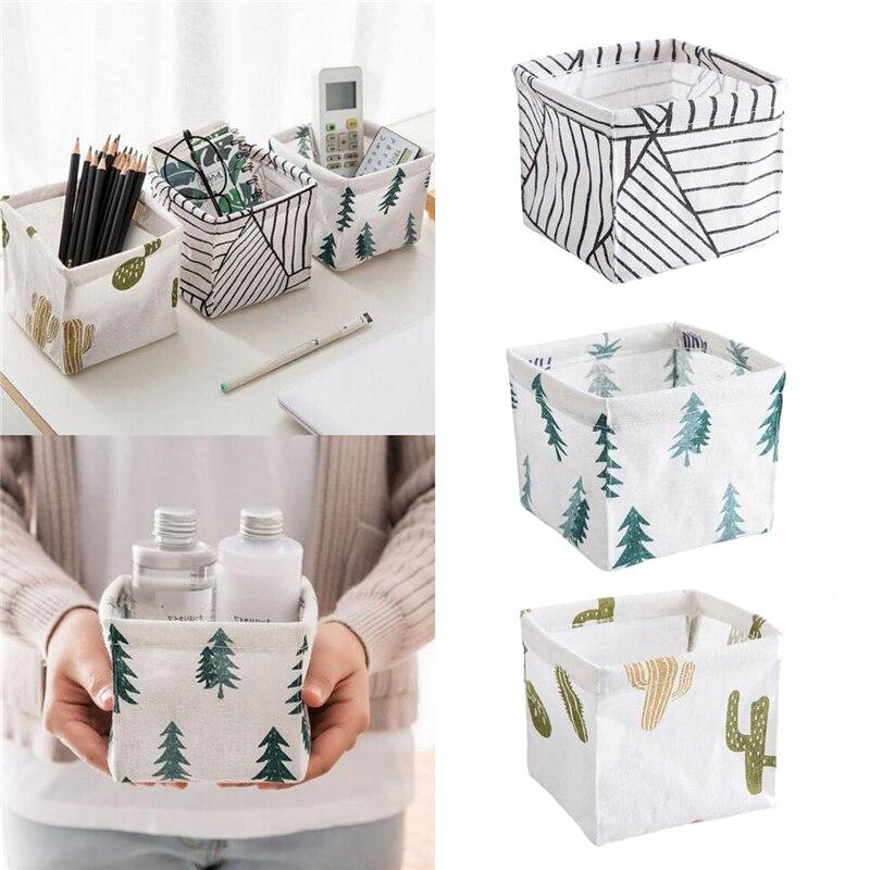 Cajas de almacenamiento para ropa interior, cesta de almacenamiento de calcetines, caja de lino para juguetes, organizador de maquillaje de tela, contenedor de escritorio a rayas Accesorios para el hogar