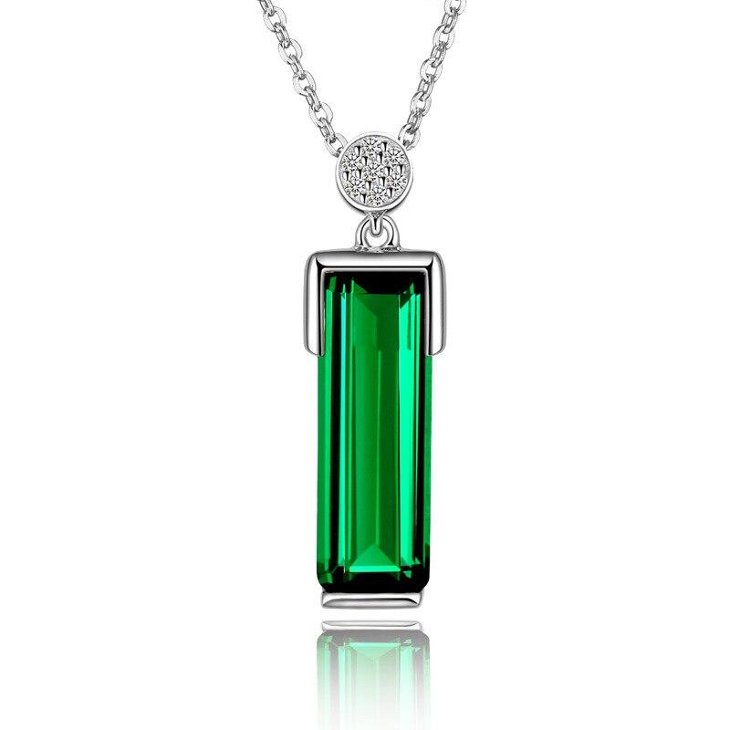 Ожерелье из серебра 925 пробы с подвеской в виде изумруда, зеленое украшение Bizuteria для женщин, Нефритовое ожерелье с изумрудом, женское ожерелье с цепочкой и 925 пробы