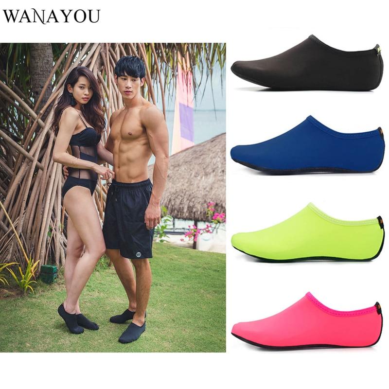 WANAYOU Summer Light Water Shoes Men Women Solid Color Aqua Beach Shoes Non-Slip Swimming Sneaker Seaside Socks For Men