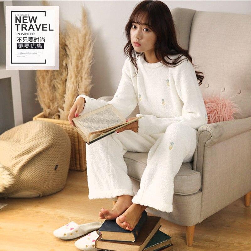 Warm Soft Pineapple 2018 New Autumn Winter Womens Sweater Pant Nightwear Thickening Flannel Sleepwear Home Cloth Pajamas