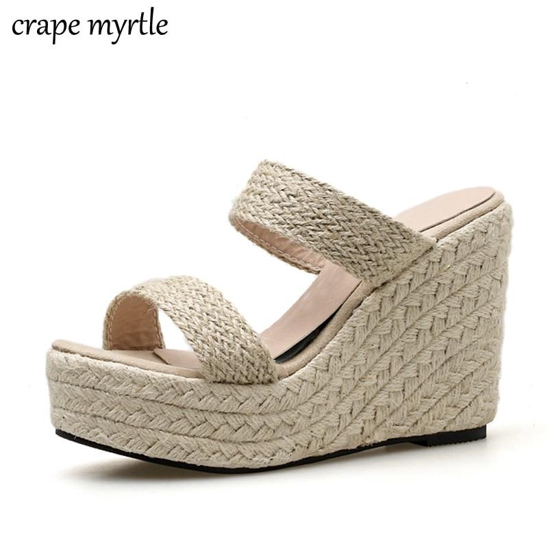 Women Summer slippers wedge shoes womens mules with heels Flip Flops Wedges striped shoes women flip flops sandals women YMA732