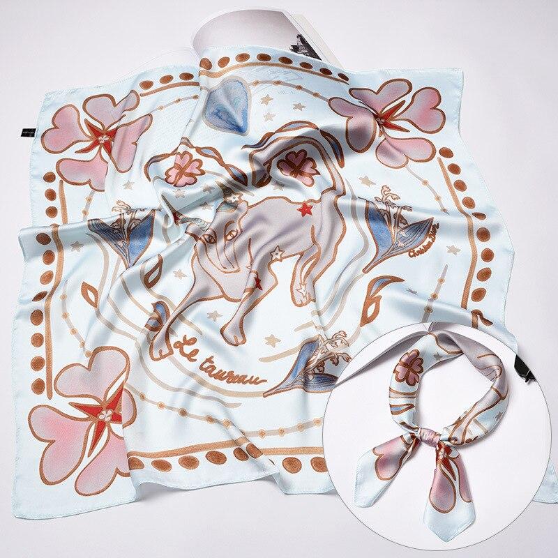 Exclusivo 70*70cm 12 constelación de seda cuadrado pañuelo decoración serie Tarot nuevo diseño mujeres cabeza de lujo marca bolsa cinta