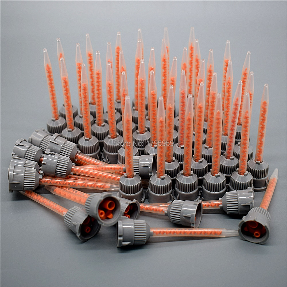 50 pegamento AB 101 boquilla de mezcla aplicador adhesivo mezclador estático pistola de calafateo dispensador doble cartucho redondo boquilla de mezcla